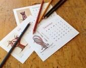 Desk Calendar, 2016 - Birds and Owls - Includes 4 colour-your-own months - Handmade