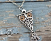 Articulated Owl Pendant - With Speckled Glass Eyes - Art Nouveau Inspired - Handmade Pewter Jewelry Creations By Doctorgus