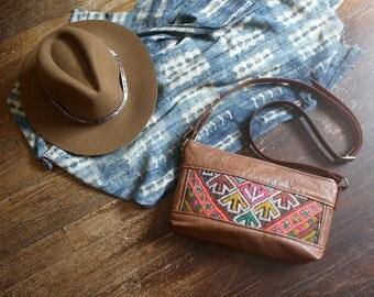 Tribal Shoulder Bag. Brown Leather Shoulder Bag. Kilim Bag.