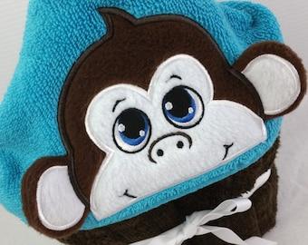 Personalized Monkey Hooded Towel ~ Personalized Kids Birthday Gift ~ Toddler Hood Towel ~ Baby Towel Wrap ~ Handmade Monkey Towel