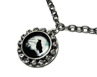 Black Raven Necklace, Black Crow Necklace, Bird Jewelry, Handmade, The Raven, Bird Necklace, Goth Jewelry, Black Bird, Gifts for her