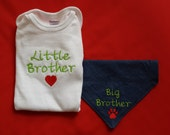 Little Brother Baby Bodysuit with Big Brother Or Big Sister Dog Bandana ,New Baby,Embroidered, Shower Gift, Baby Announcement,Infant Creeper