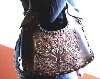 Leather Handbag-Tree of Life Leather  Hand Bag-Tree of Life Leather Handbag- Leather Handbag-Leather Handbags-Tooled Leather Handbags