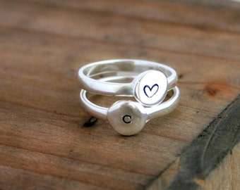 Personalized sterling silver ring with initial- Stacking ring - Initial Ring - Initial Jewelry