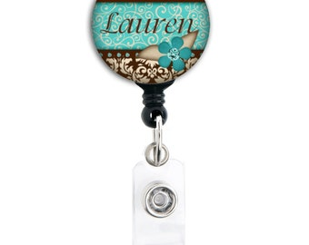 Personalized Badge Reel - Blue and Brown Damask - Retractable ID Badge Holder