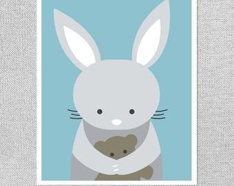 Bunny Nursery Decor, Bunny Nursery Art, Art for Nursery, Blue Nursery Art, Nursery Print, Baby Gift, Blue Nursery Decor, Art for Kids Room