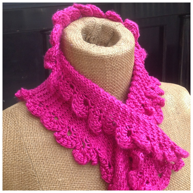 PDF knitting pattern, scarflette, scarf, garter stitch, reversible, ruffled s...