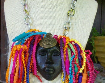 Tribal Inspired VooDoo JuJu Style Rasta Dreds Mixed Media Art Necklace Found Objects Mask OOAK Original Warrioress Free Shipping