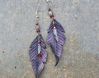 Leather Raven Feather Earrings with Garnet, Labradorite and Sterling Silver