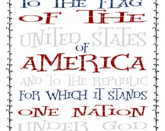 Patriotic Pledge of Allegiance Quote SVG Vector Printable Cutable