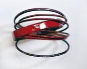 Handcrafted Bangle Set - 'Hurrah Syrah' - Mixed Merlot Wine Tone Enamel Bracelets