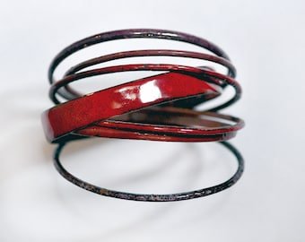 Handcrafted Bangle Set - 'Hurrah Syrah' - Mixed Merlot Wine Tone Enamel Bracelets