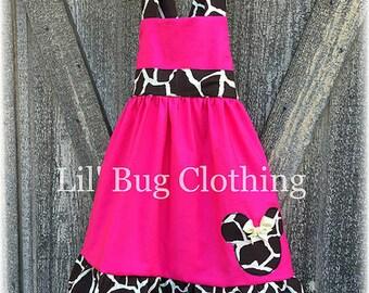 Hot Pink Minnie Mouse Animal Kingdom Dress, Minnie Mouse Toddler Girl Dress, Minnie Mouse Giraffe Dress, Custom Boutique