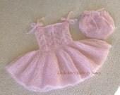 Sitter Dress Bloomers,  Fairy Dress,  Sitter Photo Props, Knitted Silk Mohair Dress, 6 - 12 mth