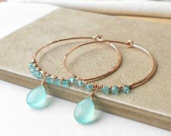 Rose Gold Hoops, Beaded Gemstone Hoop Earrings, Crystal Aqua Chalcedony Wire Wrapped Hoops