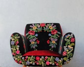 Bohemian Midcentury Armchair Embroidered Flowers, Magical Burlesque Furniture Vintage Embroidery, Punch Needle Embroidery, Velvet