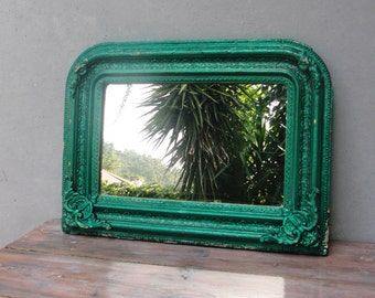 Antique Ornate Mirror late 1800's Wooden Frame Vintage Kitsch Shabby Chic Rustic Mirror