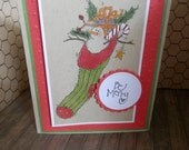 Handmade Holiday Gift Card Kit 5 Card Set Be Merry Rustic Snowman