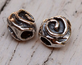Artisan Sterling Silver Spiral Beads, Two Beads, AP23