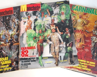 1980s Brazilian Magazines Carnival Mardi Gras Vintage Photos Manchete Carnaval Portuguese Ephemera Nudity Costume Scrapbook Collage Supplies