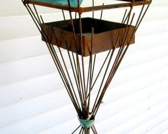 Sculptural Steel & Copper Bird Feeder No. 340 - Freestanding unique modern birdfeeder