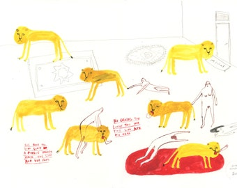 Lion Attack in the Living Room - Original gouache and pencil illustration on paper