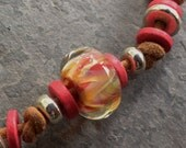 SALE!!!  30%OFF!!!  Borosilicate Glass and Leather Necklace