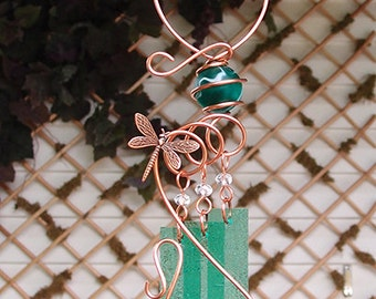 Dragonfly Windchime Glass Wind Chimes Copper Garden Ornament Art Sculpture Stained Glass Metal
