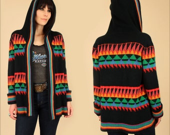 ViNtAgE 70's Wrap Sweater Hooded Black Rainbow Sweater Bell Sleeves Chunky Knit HiPPiE BoHo