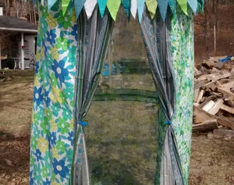 Boho Tent Glamping Bed Canopy for Nursery or Beach Cabana Retro Threads Changing Room Turquoise Tribal Fest Concert  Hippie Decor