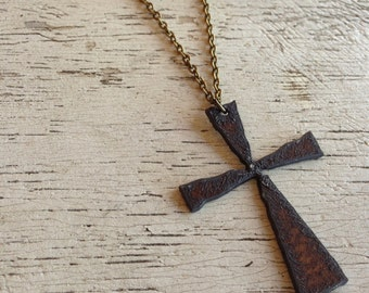 """READY TO SHIP Aged Metal Rustic Cross Pendant on 30"""" Antique Brass Chain Necklace"""