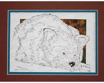 Red Panda Papercutting, Handcut Original, Watercolor Background