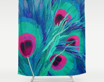 peacock feathers fabric shower curtain blue pink and green pretty home decor bathroom