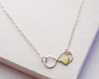 Infinity Heart Necklace | Mothers Necklace | Family Jewelry | Mother of the Bride or Groom | Infinity Charm | Sterling Silver