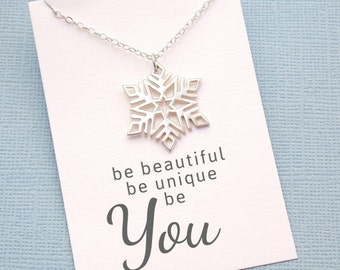 Large Snowflake Necklace | Birthday Gift | Gift for Her | Stocking Stuffer | Snowflake Necklace | Gift Set | Sterling Silver | X02