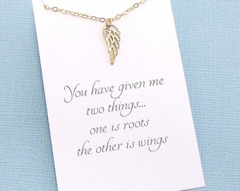 Mom Gift | Angel Wing Necklace, Gift for Mother, Gift Ideas for Mom, Mothers Day, Gift for Mom, Boho Mom | Gold or Silver | M09