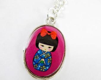Japanese Geisha Necklace - Purple