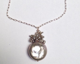 Coin Pearl with Freshwater Pearl Cluster