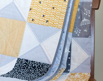 Reserved for Kim, Final 75% balance on a custom Queen Size Hourglass Quilt, Modern Patchwork Quilt in Grey, Black and Yellow