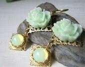 Pale Green Floral Earrings, Brass Dangle Drop Earrings, Floral Cabochon Romantic Vintage Inspired, Yellow Opal Cabochon Earrings
