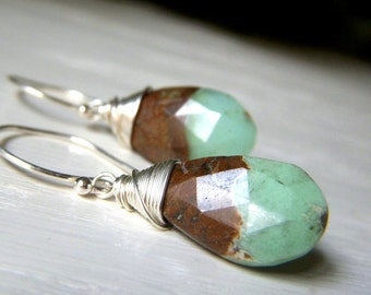 Rustic Chrysoprase Earrings Sterling Silver, Wirewrapped Briolette Genuine Gemstone Dangle Minimalist, Chocolate Mint Earrings