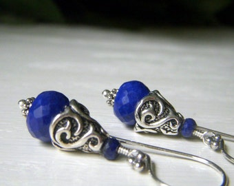 Lapis Earrings Sterling Silver, Royal Blue Gemstone Rondelle Earrings, Lapis Lazuli Earrings, Genuine Gemstone Jewelry