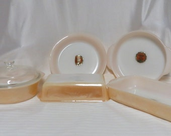 Vintage 50s Set of 1950s Fire King Copper Tint Bake Ovenware 6 pieces New Old Stock Unused MCM Mid Century Rockabilly Home