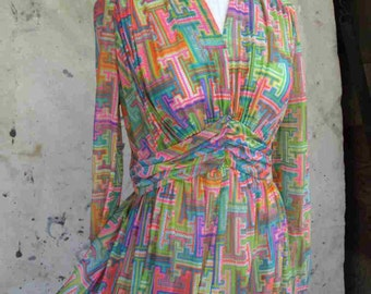 70s Pretty party dress Vintage Video game graphics bright pastel print dress 70s vintage print empire dress M