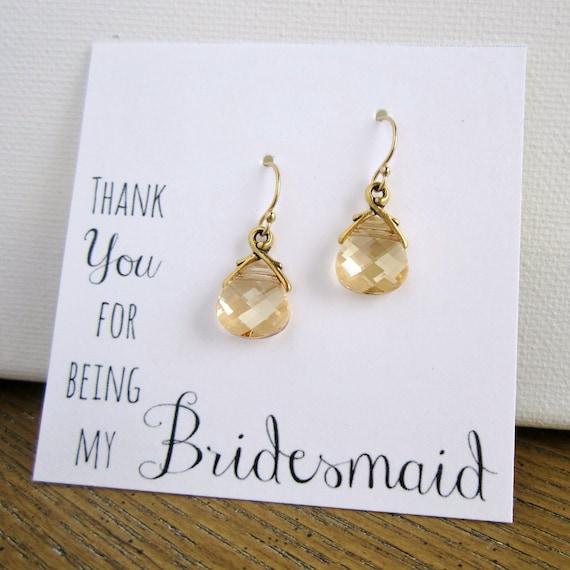 Gold earrings, Bridesmaid earrings, Bridesmaid gift, Thank You card, Swarovski champagne crystal earrings, antiqued gold teardrop earrings