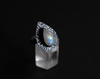 SALE Natural rainbow moonstone oxidized sterling silver ring with pear shaped textured setting. Size 6