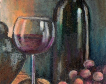 original art drawing aceo card wine bottle grapes