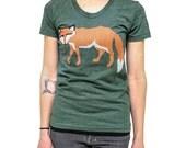 fox tshirt womens shirt ladies tee animal shirt american apparel tri blend