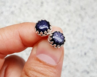 Blue Goldstone Earring Studs, Celestial Jewelry, Glitter Jewelry, Sparkly Earrings, Night Sky, Sterling Silver Hypoallergenic Studs (E266)