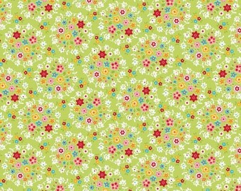 SALE fabric, Bloom and Bliss fabric, Green fabric, Riley Blake- Small Print fabric great for Button Covers, Doll Clothes, Blythe